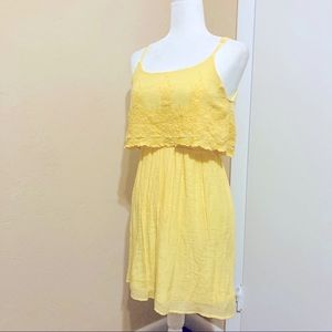 Charlotte Russe Yellow Floral Embroidered Sundress